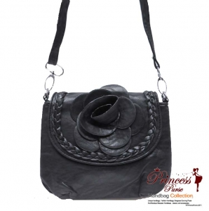 Designer Inspired Small Leatherette Messenger Bag with Flower Center Piece