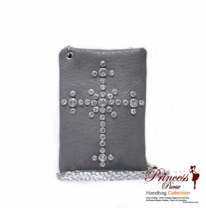 Modern Designer Inspired Small Messenger Bag w/ Cross Design in Rhinestone.