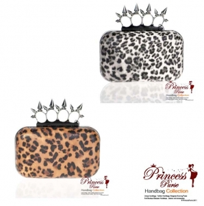 6 Piece Bulk Buy!! Designer Inspired Evening Bag Leopard Print and Spike Accent Four Finger Handle