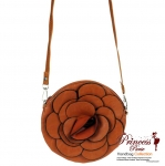 Designer Inspired Small Leatherette Messenger Bag w/ Flower Center Piece.