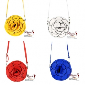 6 Piece Bulk Buy!! Designer Inspired Small Leatherette Messenger Bag w/ Flower Center Piece.