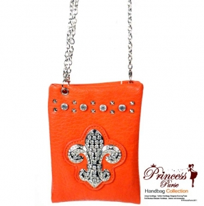 Designer Inspired Leatherette Fleur De Lys Emblem w/ Rhine Stone and Stud Decoration