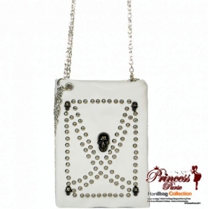 Designer Inspired Leatherette Handbag w/ Skull and Stud Decoration
