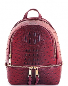 Handbag Inc Ostrich Vegan Leather Small Backpack and Wallet OS1082 BURGANDY