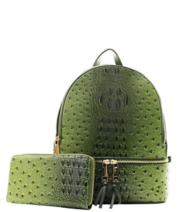 Handbag Inc Ostrich Vegan Leather Small Backpack and Wallet OS1082 OLIVE