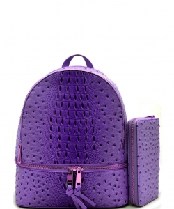 Handbag Inc Ostrich Vegan Leather Small Backpack and Wallet OS1082 PURPLE