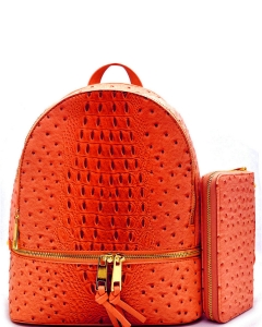 Handbag Inc Ostrich Vegan Leather Small Backpack and Wallet OS1082 TANGERINE