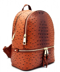 Handbag Inc Ostrich Vegan Leather Small Backpack and Wallet OS1082 TAN