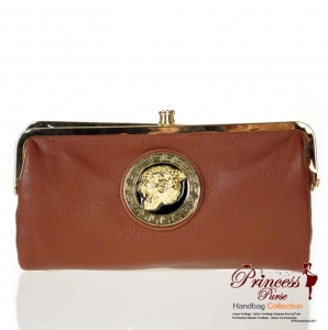 Stylish Designer Inspired Faux Leather Clutch w/ Jaguar Gold Tone Emblem Accent