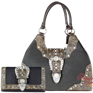 Western Inspired Faux Croc Skin Handbag w/ Flip-Over Buckle, Rhinestone and Stud Decor.