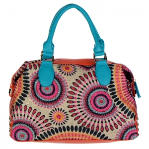 Beautiful and Chic Faux Leather Handbag w/ Colorful Pattern Accent and Rhinestone Decor 24903 - Fuchsia
