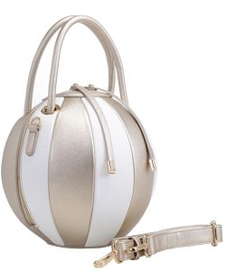 Fashion Ball Multi Color Block  Handbag LM1818 GOLD/WHITE