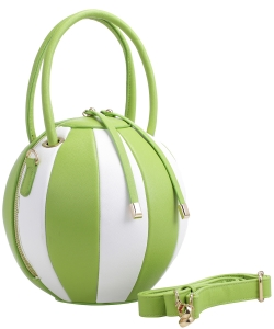Fashion Ball Multi Color Block  Handbag LM1818 GREEN/WHITE