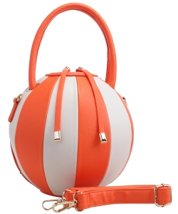 Fashion Ball Multi Color Block  Handbag LM1818 ORANGE/WHITE