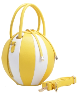 Fashion Ball Multi Color Block  Handbag LM1818  YELLOW/WHITE