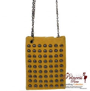 Modern Designer Inspired Small Messenger Bag w/ Stud Patten Decor