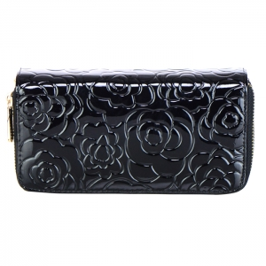 Double Zipper Compartment Flower Embossed Genuine Patent Leather Wallet 24979 - Black