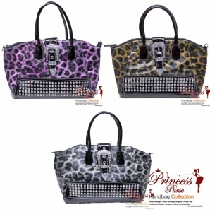 6 Piece Bulk Buy!! Designer Inspired Animal Print Glossy Leatherette Hand Bag w/ Flip-over Buckle and Rhinestone Decor