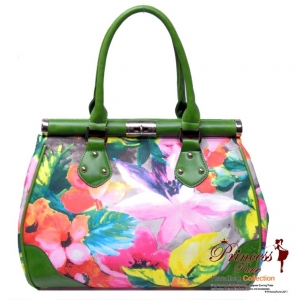 Designer Inspired Vibrant Colorful Flower Pattern Handbag w/ Twist Lock Closure