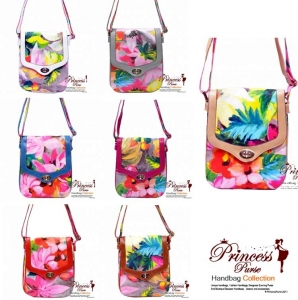7 Piece Bulk Buy! Designer Inspired Vibrant Colorful Flower Pattern Messenger bag w/ Twist Lock Closure