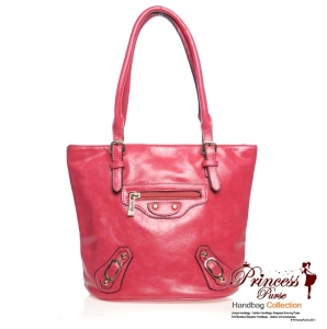Designer inspired Faux Leather Handbag w/ Zipper Pocket front and Accent Buckles
