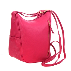 Faux Leather Hobo Bag 25111 - Hot Pink