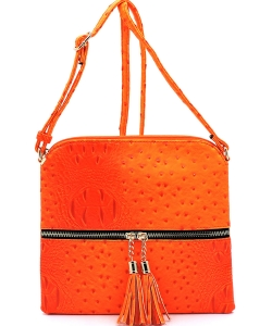 Ostrich Tassel Zipper Puller Accent  Cross Body Bag BW2309 ORANGE