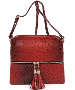 Ostrich Tassel Zipper Puller Accent  Cross Body Bag BW2309 RED