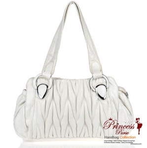 Designer Inspired Faux Leather Handbag w/ Ruffled Design