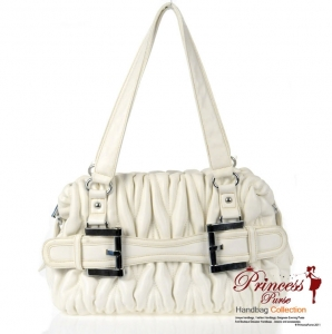 Designer Inspired Faux Leather Handbag w/ Ruffled Design and Buckle Accent