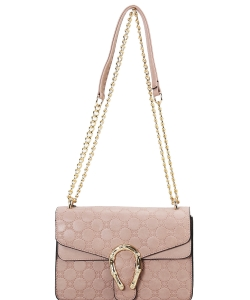 Designer Metal Accent Flap Shoulder Bag YH7046 BLUSH