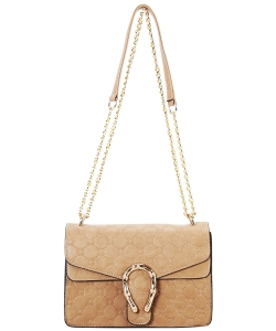 Designer Metal Accent Flap Shoulder Bag YH7046 KHAKI