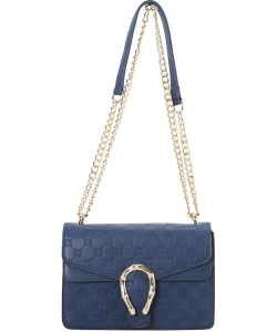 Designer Metal Accent Flap Shoulder Bag YH7046 NAVY