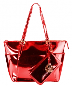 Fashion Faux Leather Metallic Handbag + Wallet MH1009Ws RED