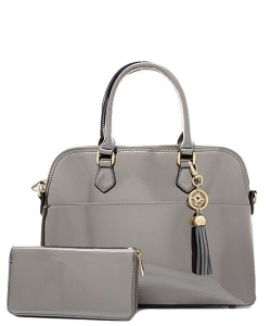 Fashion Faux Leather Metallic Handbag + Wallet MH1030W PEWTER