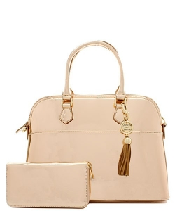 Fashion Faux Leather Metallic Handbag + Wallet MH1030W ROSEGOLD