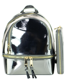 Fashion Faux Leather Metallic Backpack + Wallet MH1082Ws PEWTER