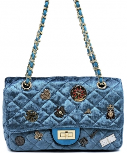 Designer inspired handbag YW851 BLUE