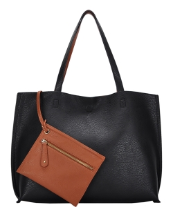 Reversible Soft Faux Leather Tote Bag BGW2079 BLACK/TAN