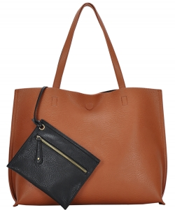 Reversible Soft Faux Leather Tote Bag BGW2079 TAN/BLACK