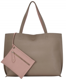 Reversible Soft Faux Leather Tote Bag BGW2079 TAUPE/BLUSH