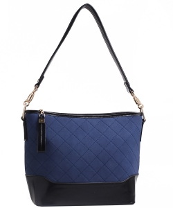 Two Tone Fashion Handbag For Women Top Handle Satchel Bag EW2117 NAVY/BLACK