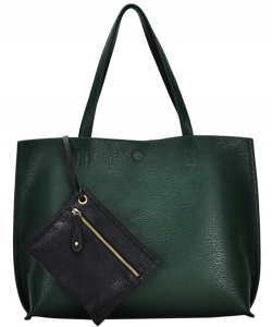 Reversible Soft Faux Leather Tote Bag BGW2079 HUNTER/BLACK