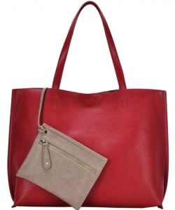 Reversible Soft Faux Leather Tote Bag BGW2079 RED/TAUPE