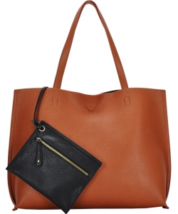 Reversible Soft Faux Leather Tote Bag BGW2079 TANBLACK