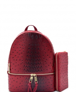 Handbag Inc Ostrich Vegan Leather Backpack and Wallet OS1062W BURGANDY