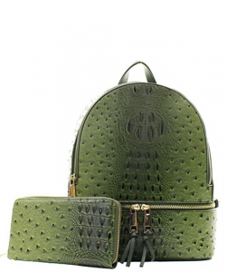 Handbag Inc Ostrich Vegan Leather Backpack and Wallet OS1062W OLIVE