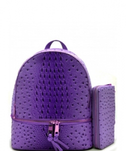 Handbag Inc Ostrich Vegan Leather Backpack and Wallet OS1062W PURPLE
