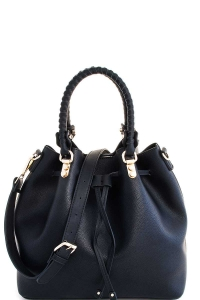 2in1 Cute Modern Princess Satchel with Long Strap T-2439 BLACK