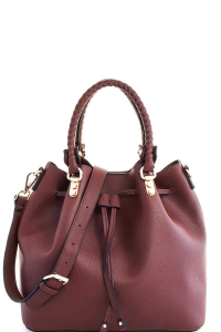 2in1 Cute Modern Princess Satchel with Long Strap T-2439 COFFEE